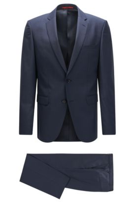 Regular-fit suit in patterned virgin wool, Dark Blue