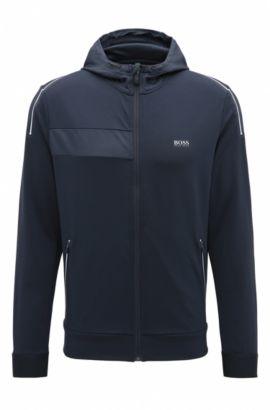 Slim-fit sweatshirt in technical stretch fabric, Dark Blue