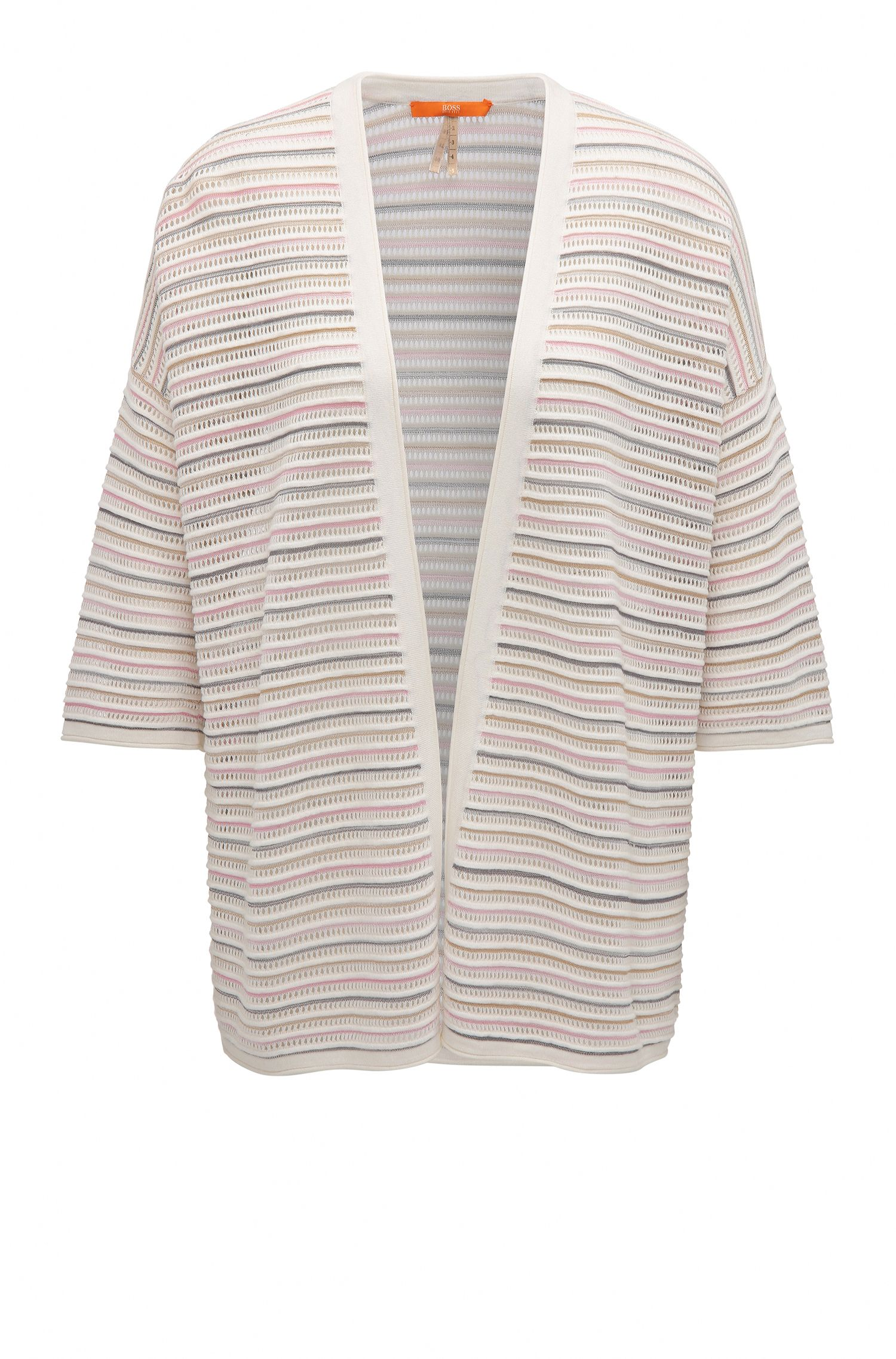 Lightweight oversize-fit open-front cardigan in structured fabric