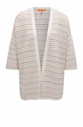Lightweight oversize-fit open-front cardigan in structured fabric, Natural