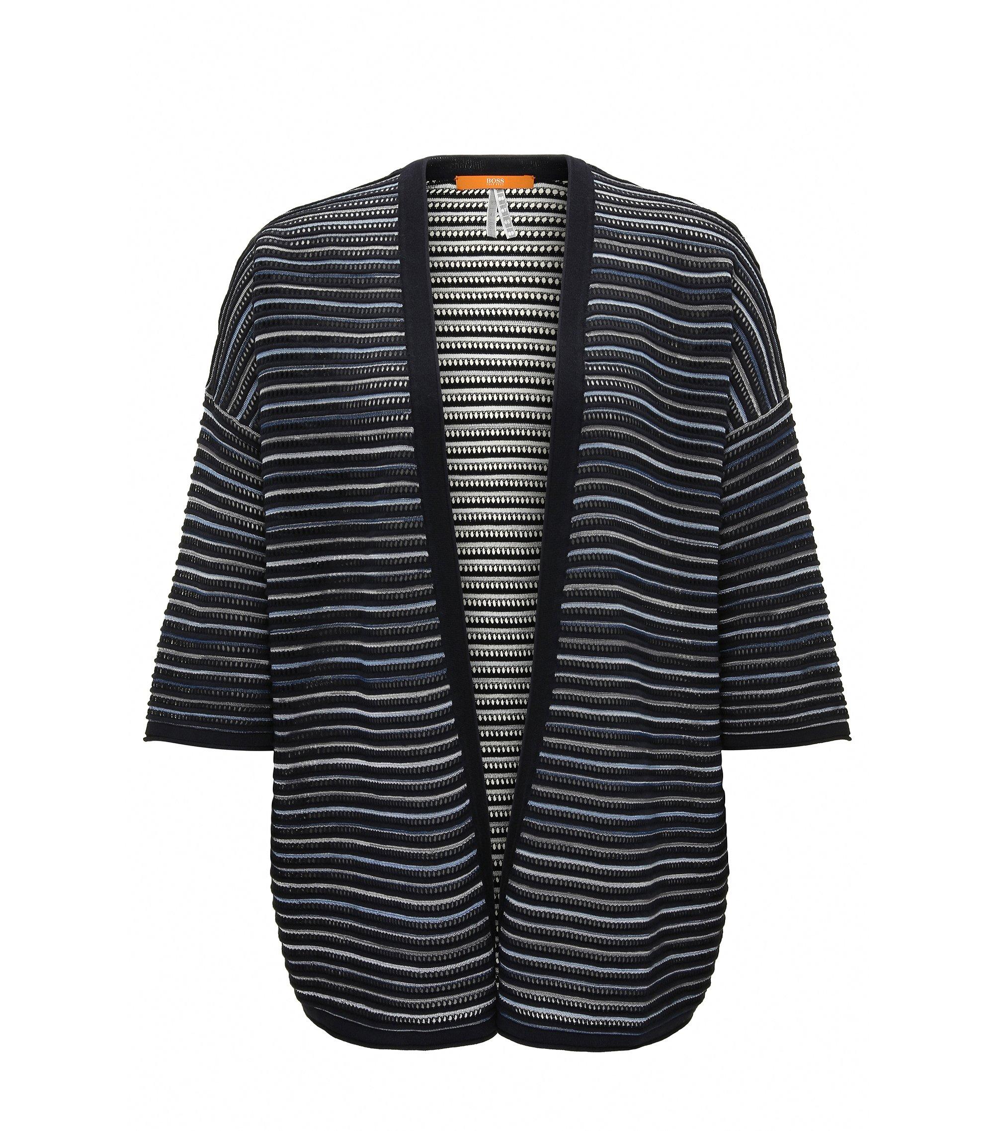 Cardigan oversize leggero aperto sul davanti in tessuto strutturato, Blu scuro