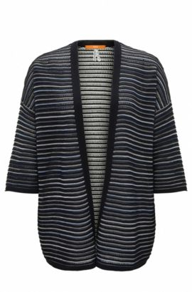 Lightweight oversize-fit open-front cardigan in structured fabric, Dark Blue