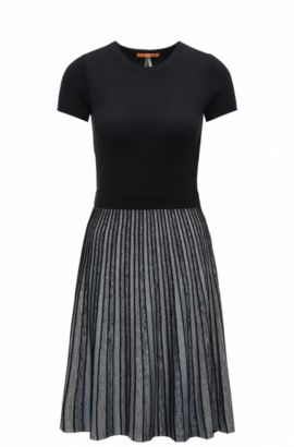 Slim-fit waisted dress in knitted and striped fabrics, Dark Blue