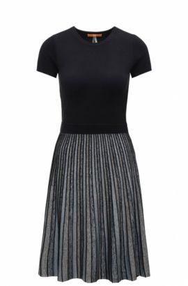 Tailliertes Slim-Fit Kleid aus elastischem Material-Mix mit Streifen-Muster, Dunkelblau