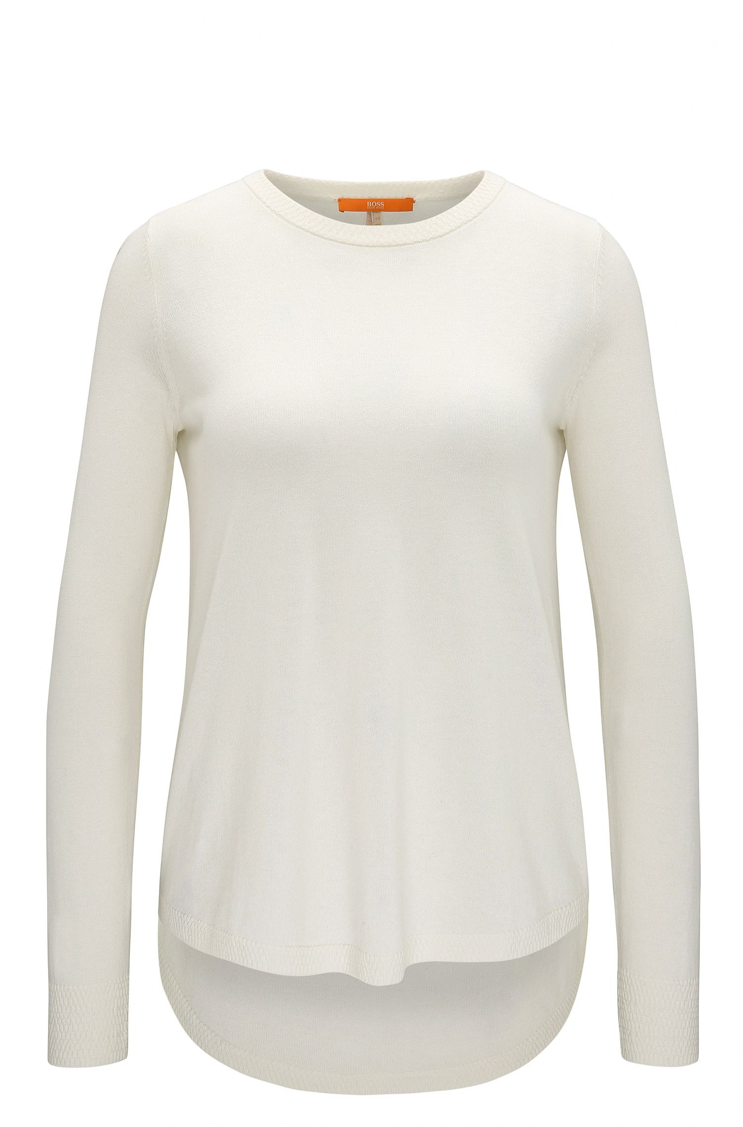 Lightweight cotton-blend sweater with structured details