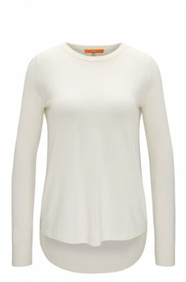 Lightweight cotton-blend sweater with structured details , Natural