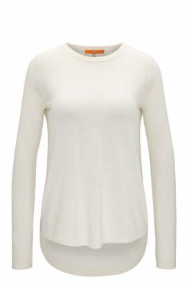 Maglione leggero in misto cotone con dettagli strutturati , Naturale
