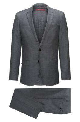 Slim-fit kostuum van een micro-twill van scheerwol, Donkergrijs