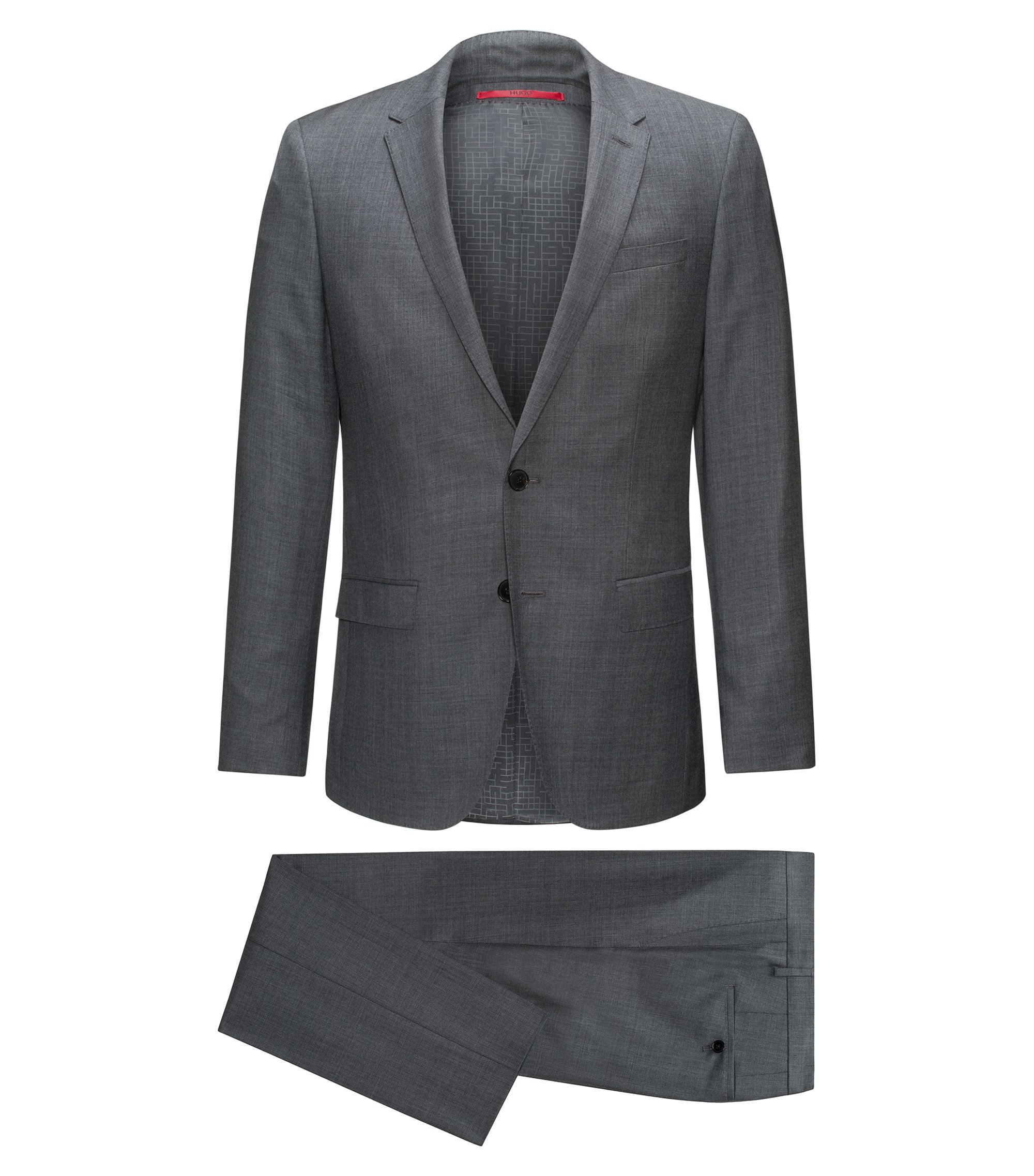 Slim-fit suit in micro-twill virgin wool, Dark Grey