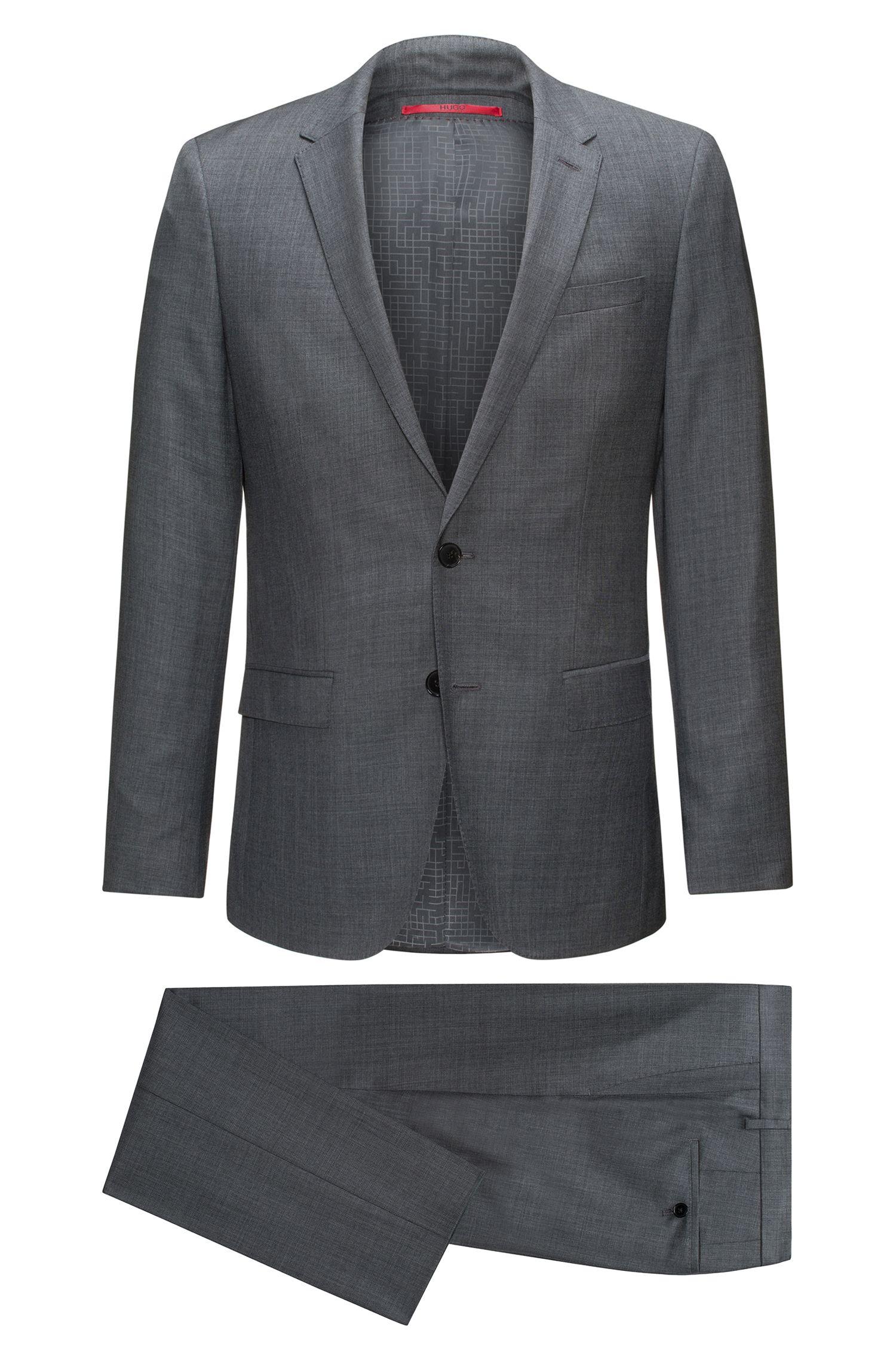 Slim-fit suit in micro-twill virgin wool
