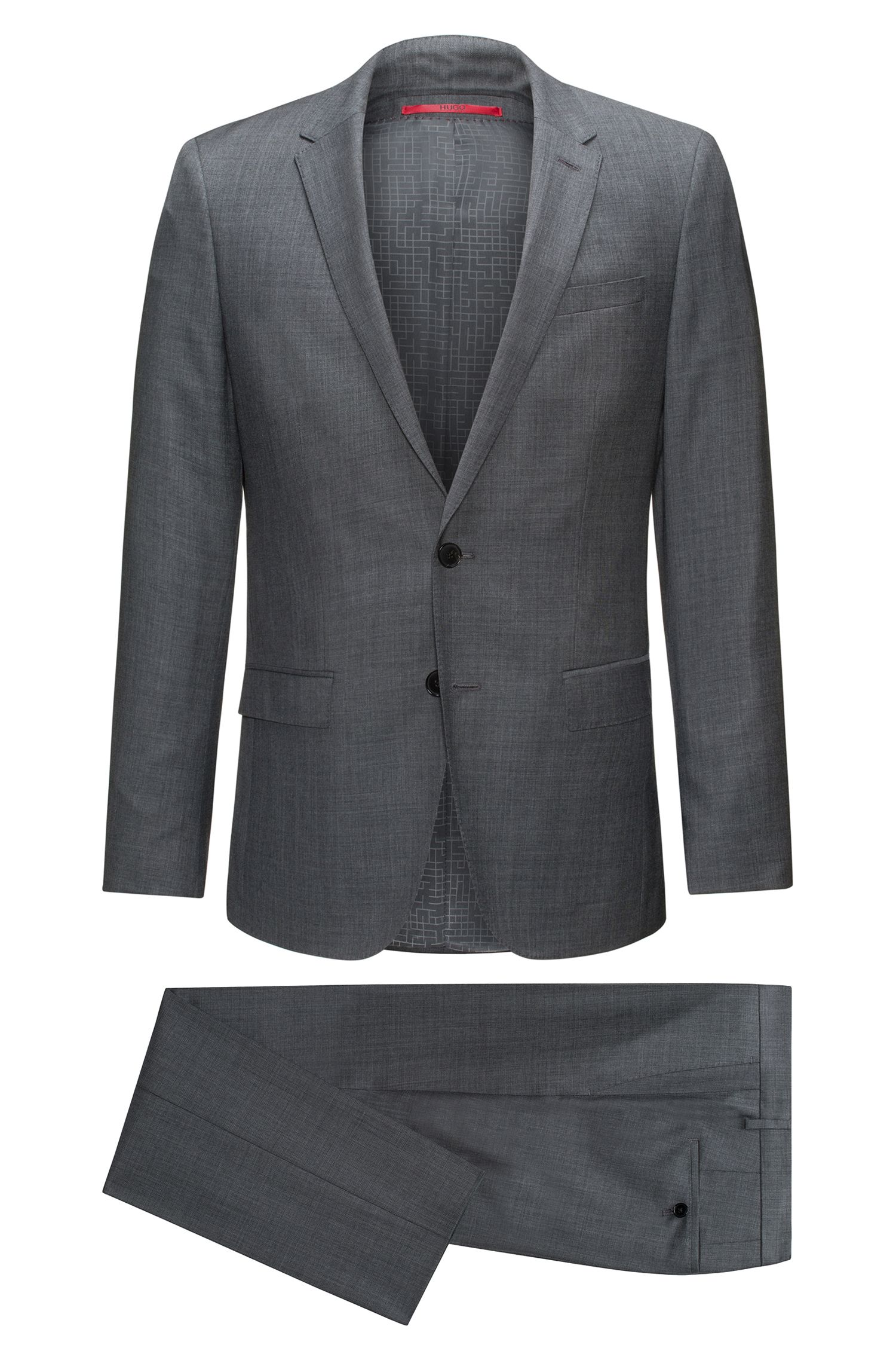 Slim-fit suit in micro-twill virgin wool