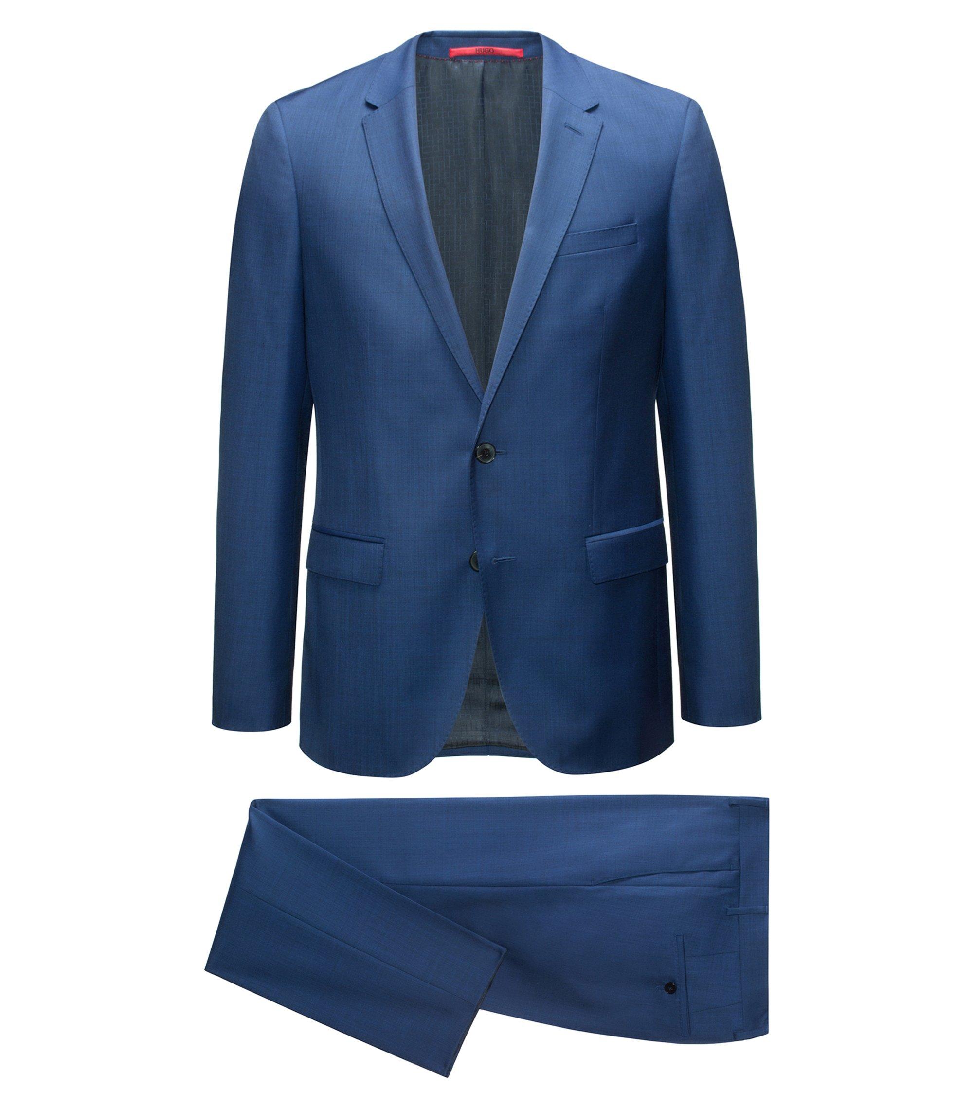 Slim-fit kostuum van een micro-twill van scheerwol, Blauw