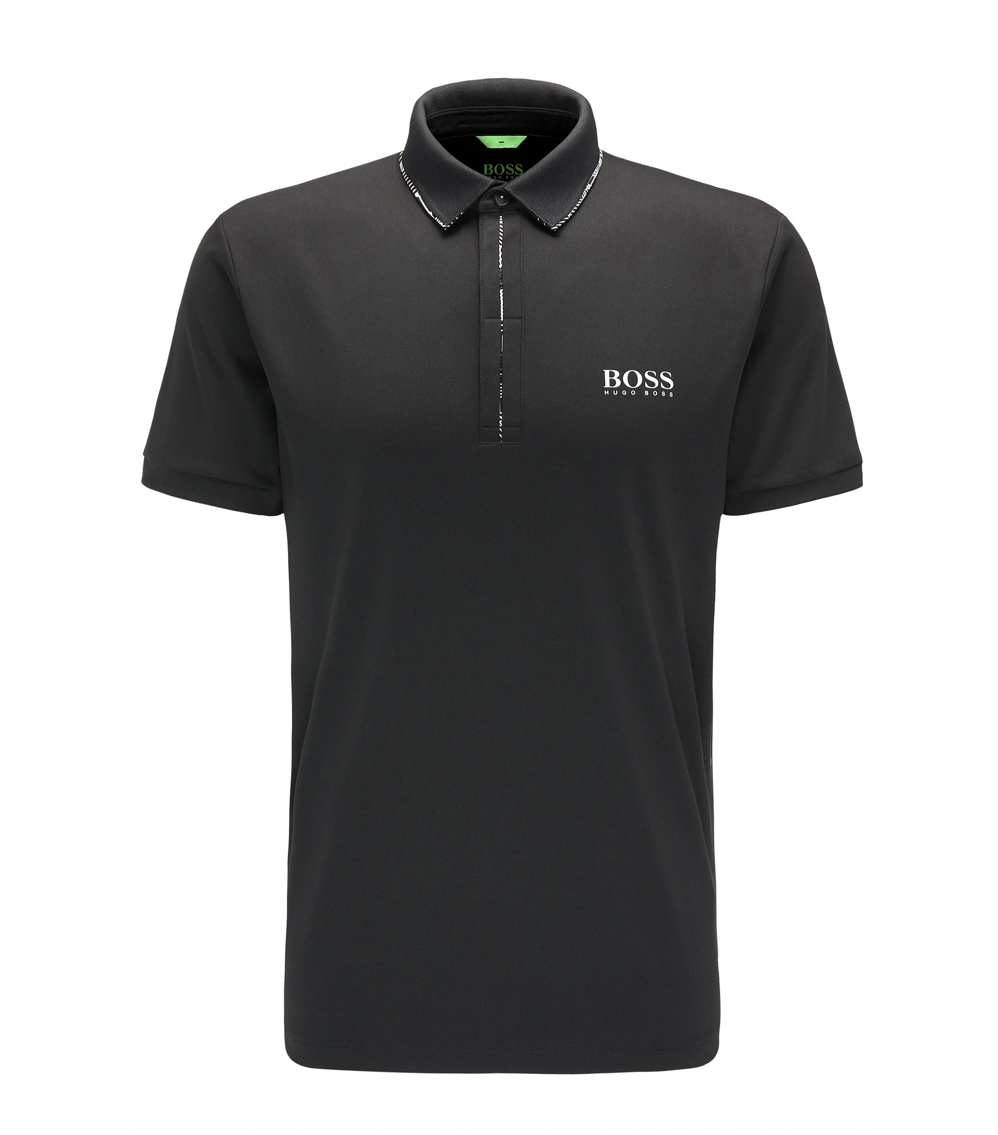 Polo Slim Fit en piqué technique, Noir