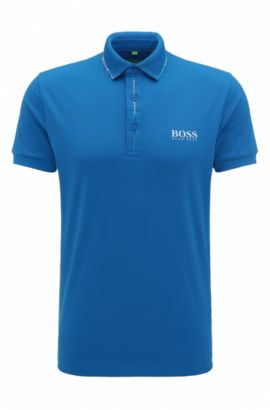 Polo Slim Fit en piqué technique, Bleu vif