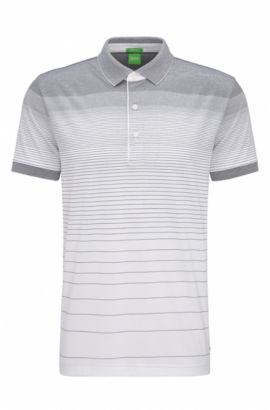 Polo Regular Fit en coton à motif rayé dégradé, Blanc
