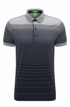 Regular-fit cotton polo shirt with gradient, Dark Blue