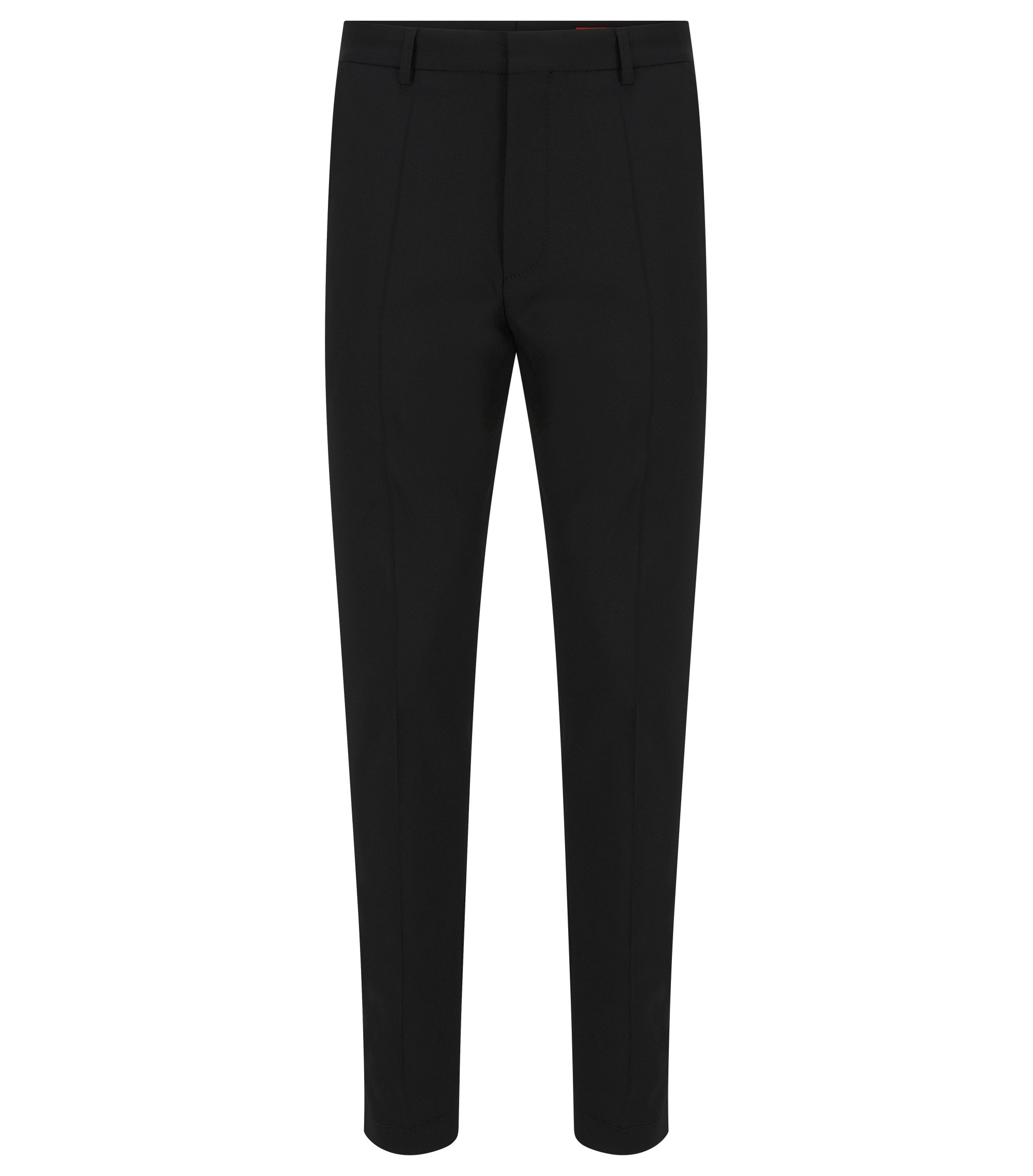 Virgin-wool chinos with heavy stitching, Black