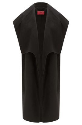 Chaleco largo con cuello chal ancho: 'Merce-2', Negro