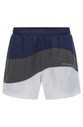 Shorts de bain à trois tons en tissu technique, Gris chiné