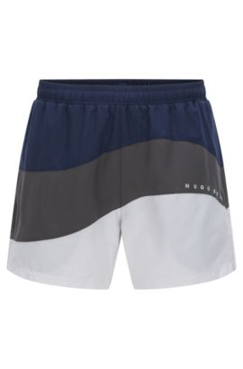 Tri-tonal swim shorts in technical fabric, Open Grey
