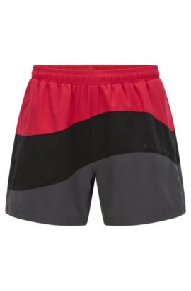Tri-tonal swim shorts in technical fabric, Patterned