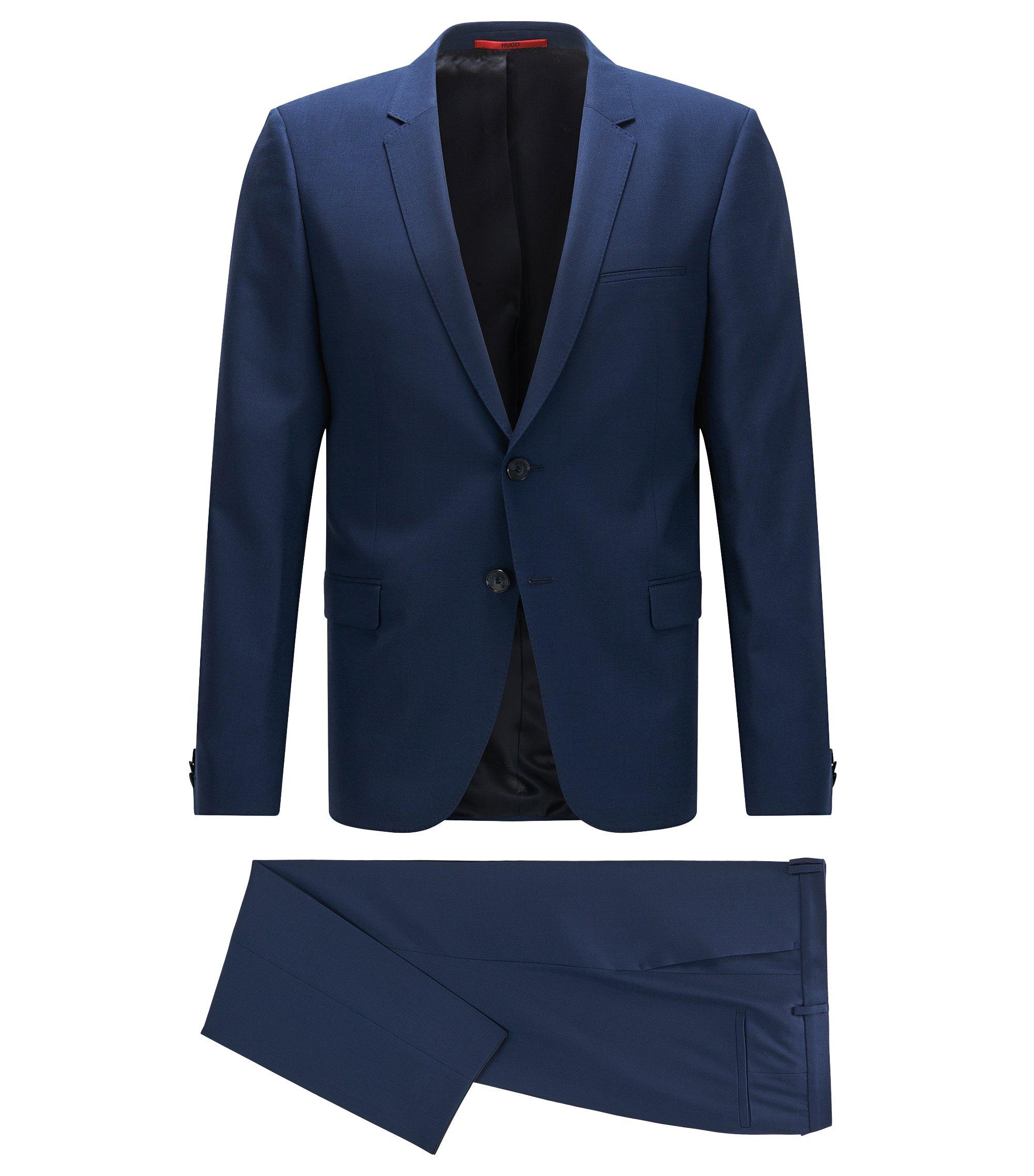 Extra slim-fit kostuum van fijngestructureerde scheerwol, Blauw