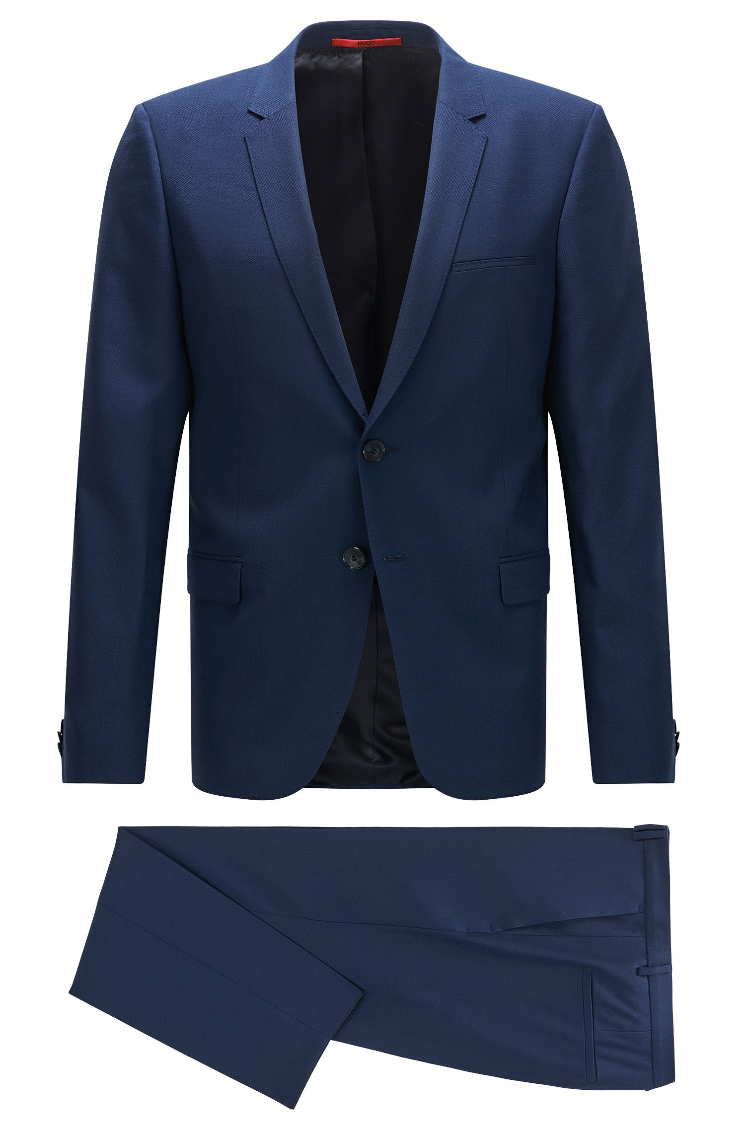 Extra-slim-fit suit in finely textured virgin wool