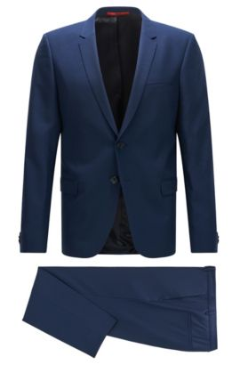 Extra-slim-fit suit in finely textured virgin wool, Blue