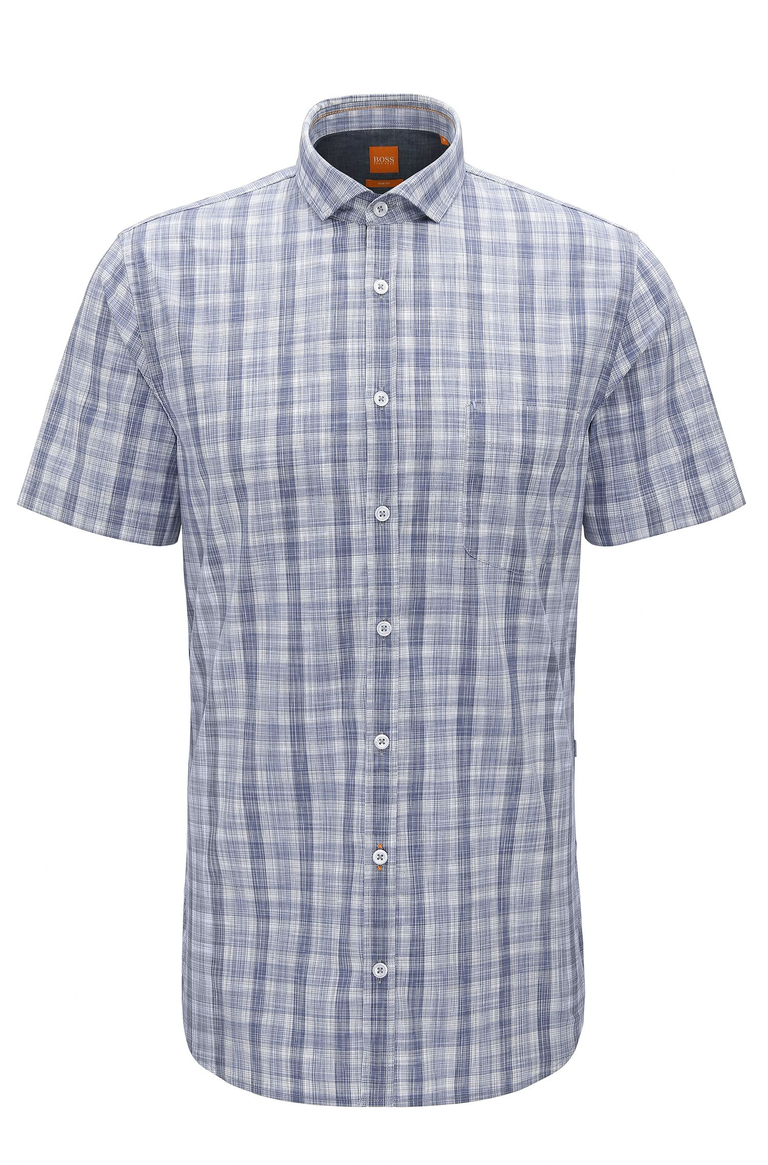 Slim-fit shirt in garment-washed cotton