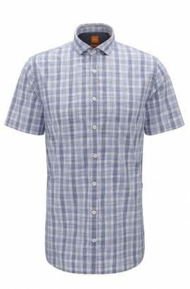 Camicia slim fit in cotone lavato in capo, Blu scuro