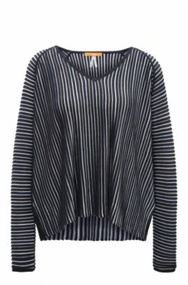 Relaxed-fit sweater in structured fabric, Dark Blue