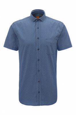 Slim-fit overhemd van katoen met denimeffect, Donkerblauw