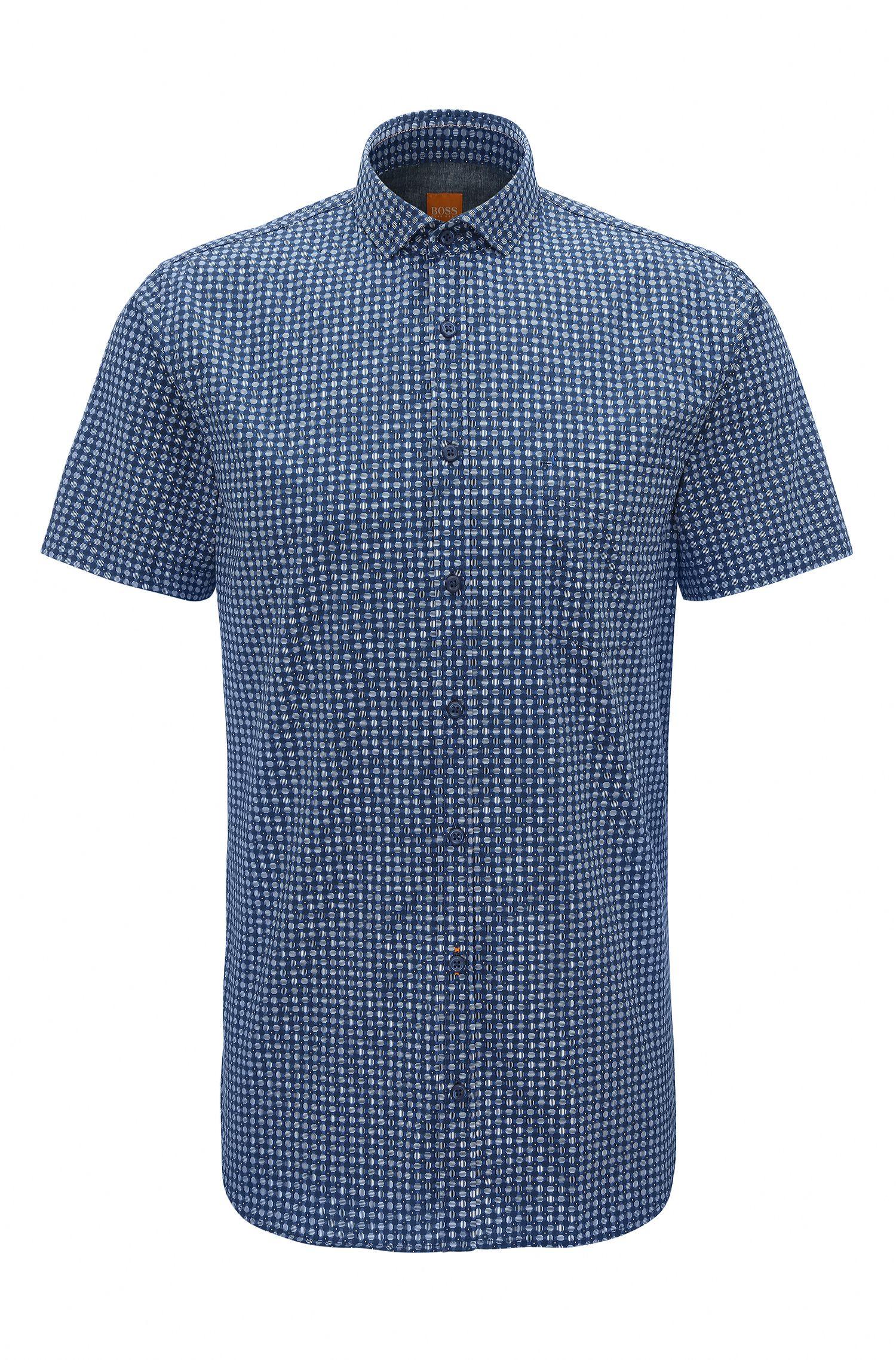 Slim-Fit Baumwoll-Hemd in Denim-Optik