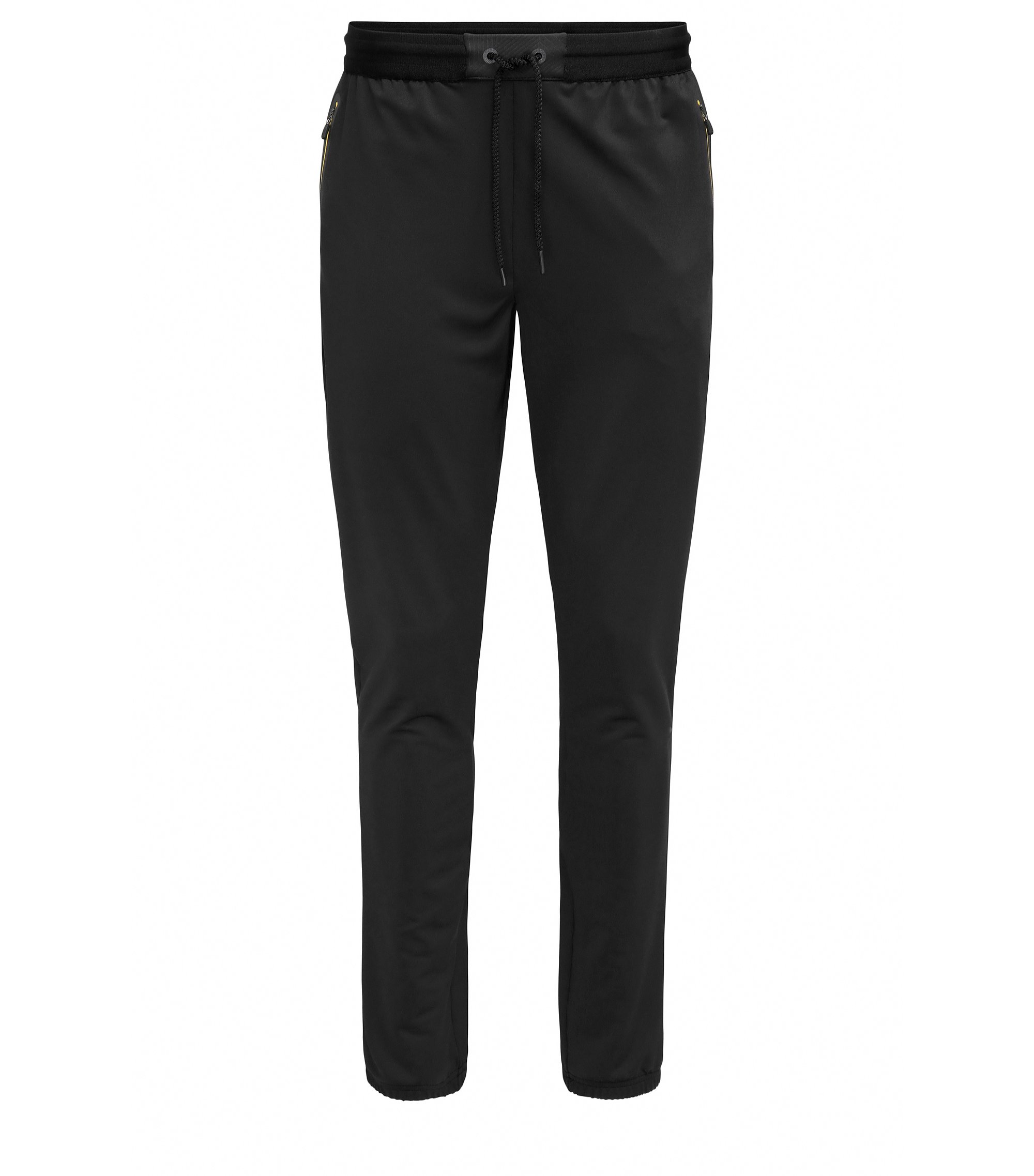 Slim-fit jersey trousers in technical fabric, Negro