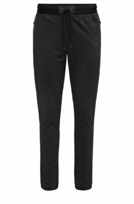 Slim-fit jersey trousers in technical fabric, Black