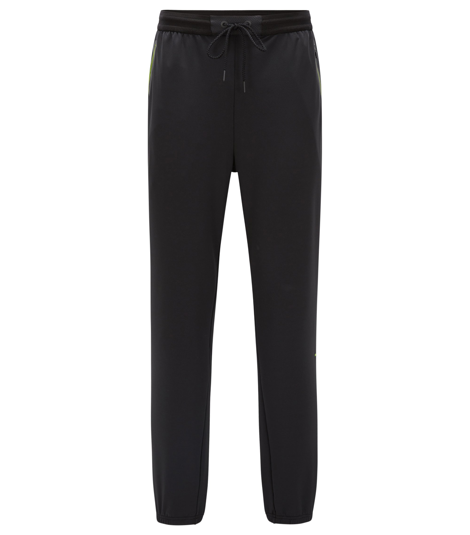 Slim-fit jerseybroek van technisch materiaal, Zwart
