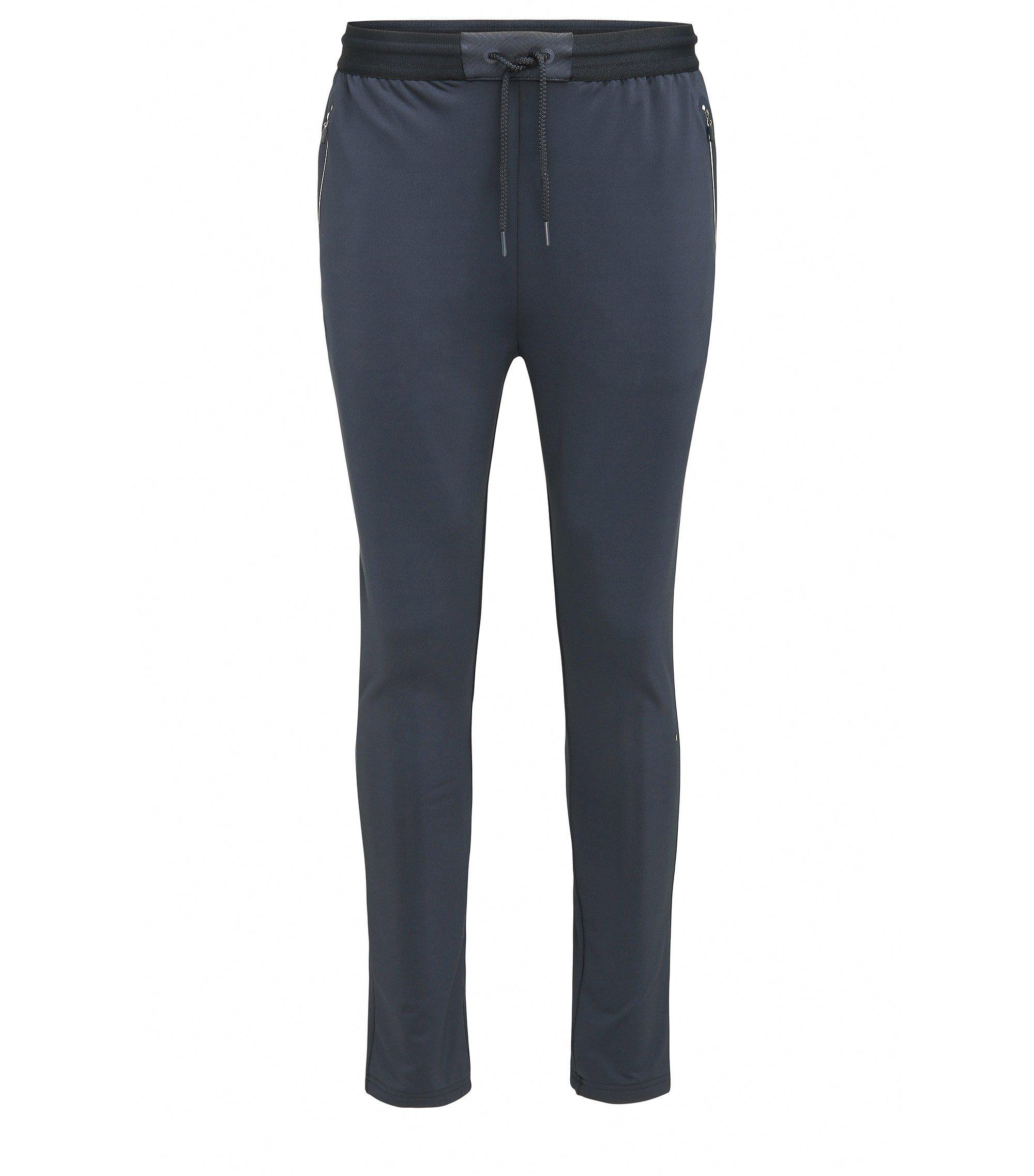 Pantalon Slim Fit en jersey de tissu technique, Bleu foncé