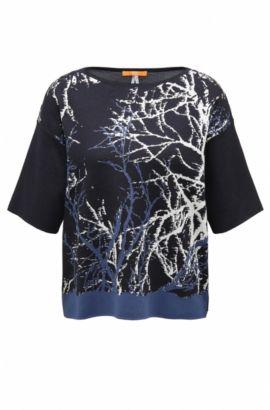 Maglione oversize in maglia jacquard in tre tonalità, Blu scuro