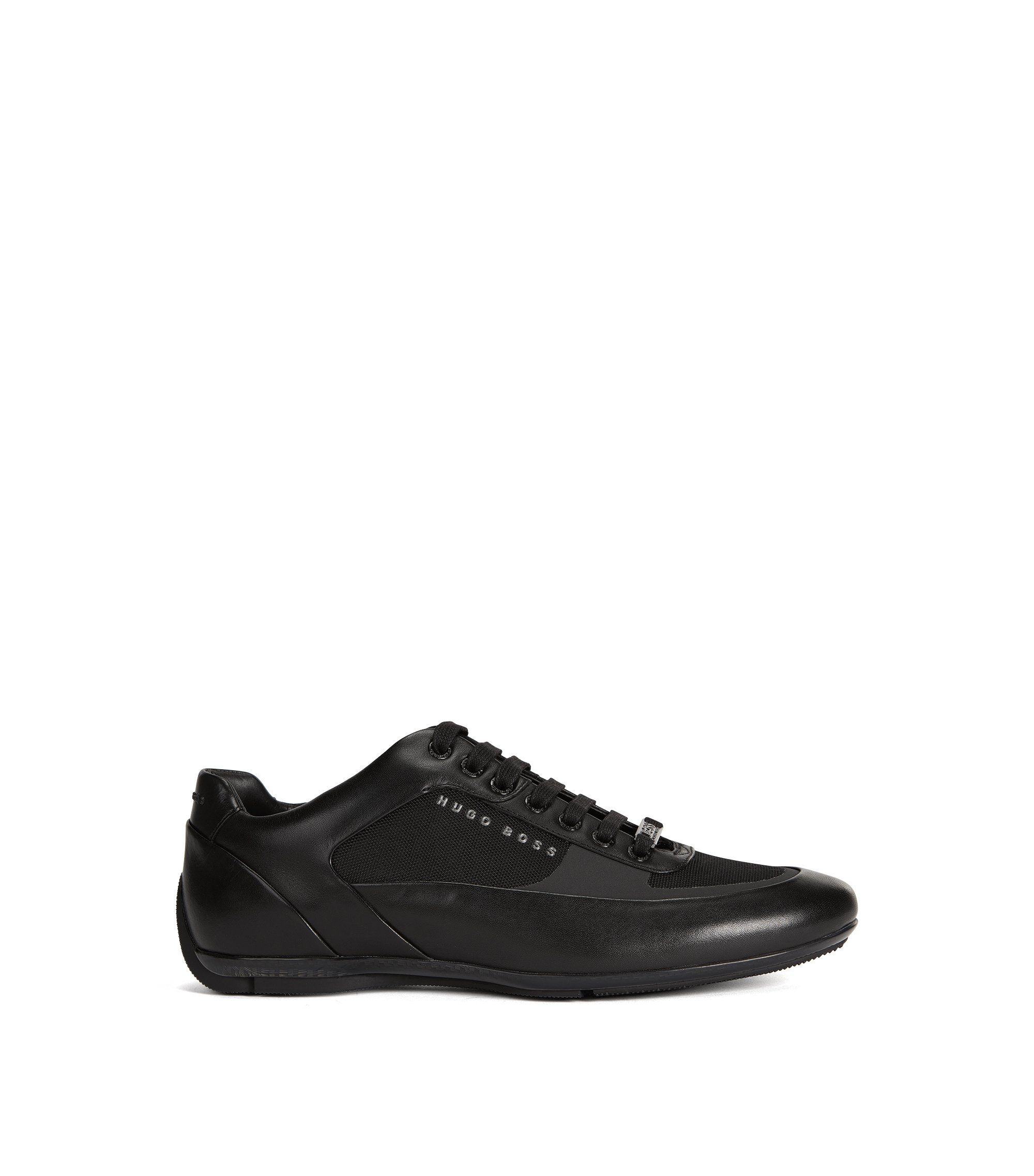 Lace-up trainers with hybrid uppers, Black