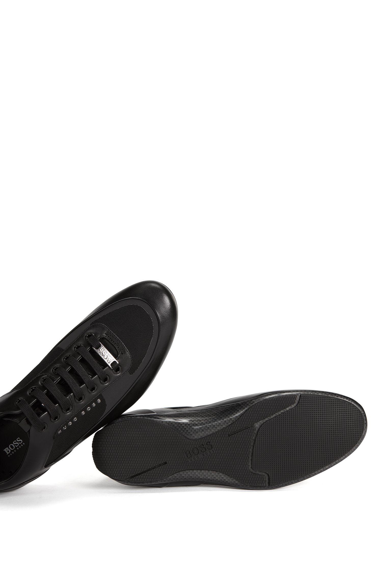 Baskets à lacets avec tige hybride, Noir
