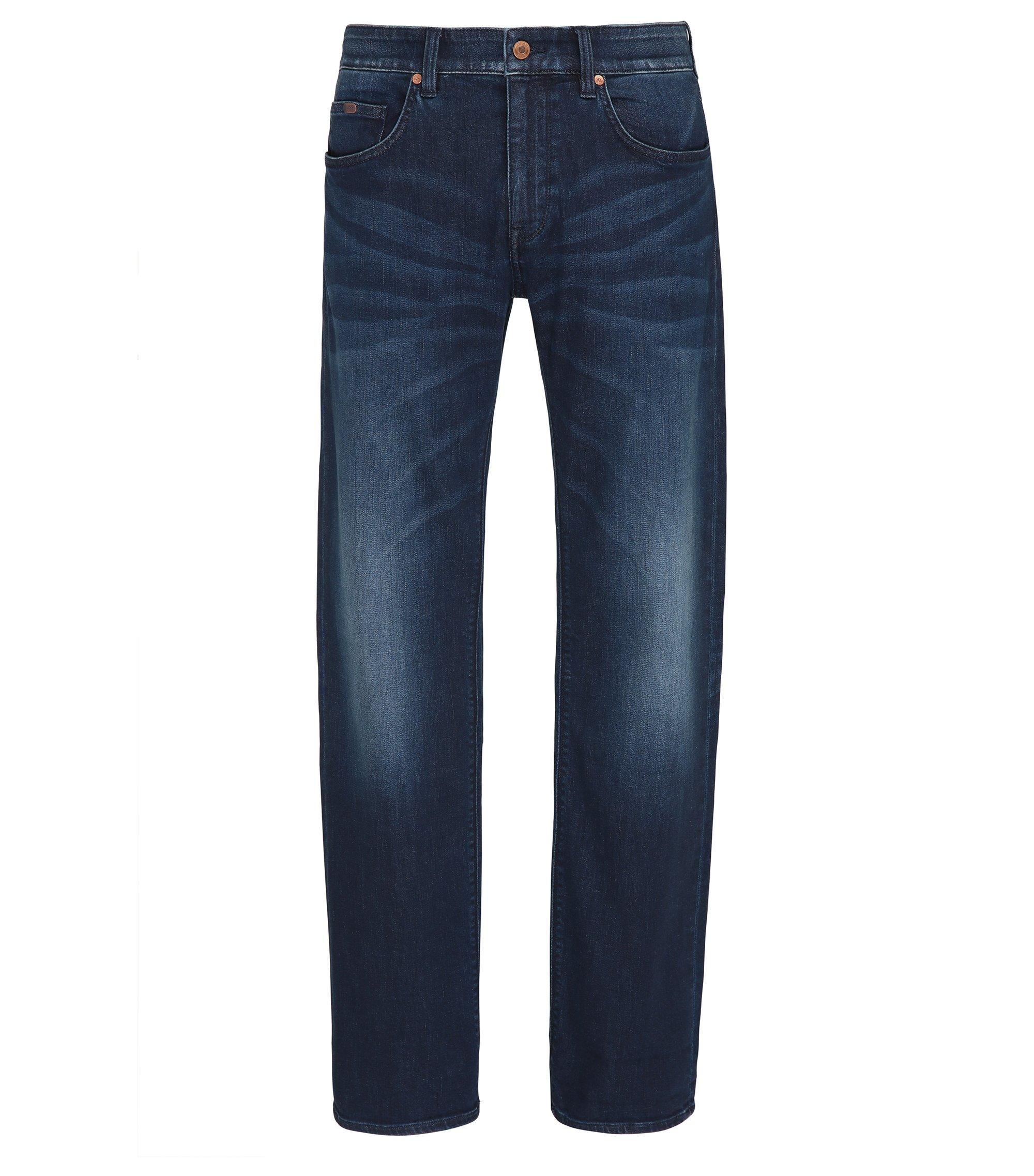 Regular-fit jeans van indigo stretchdenim, Donkerblauw