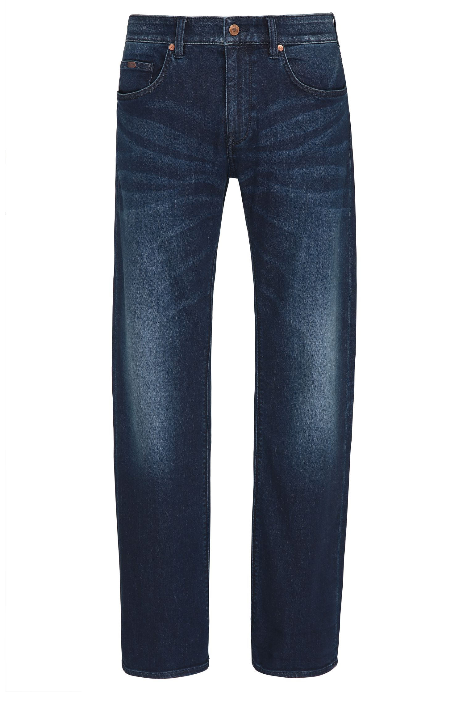 Regular-fit jeans van indigo stretchdenim