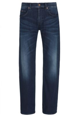 Jeans regular fit in denim elasticizzato indaco, Blu scuro