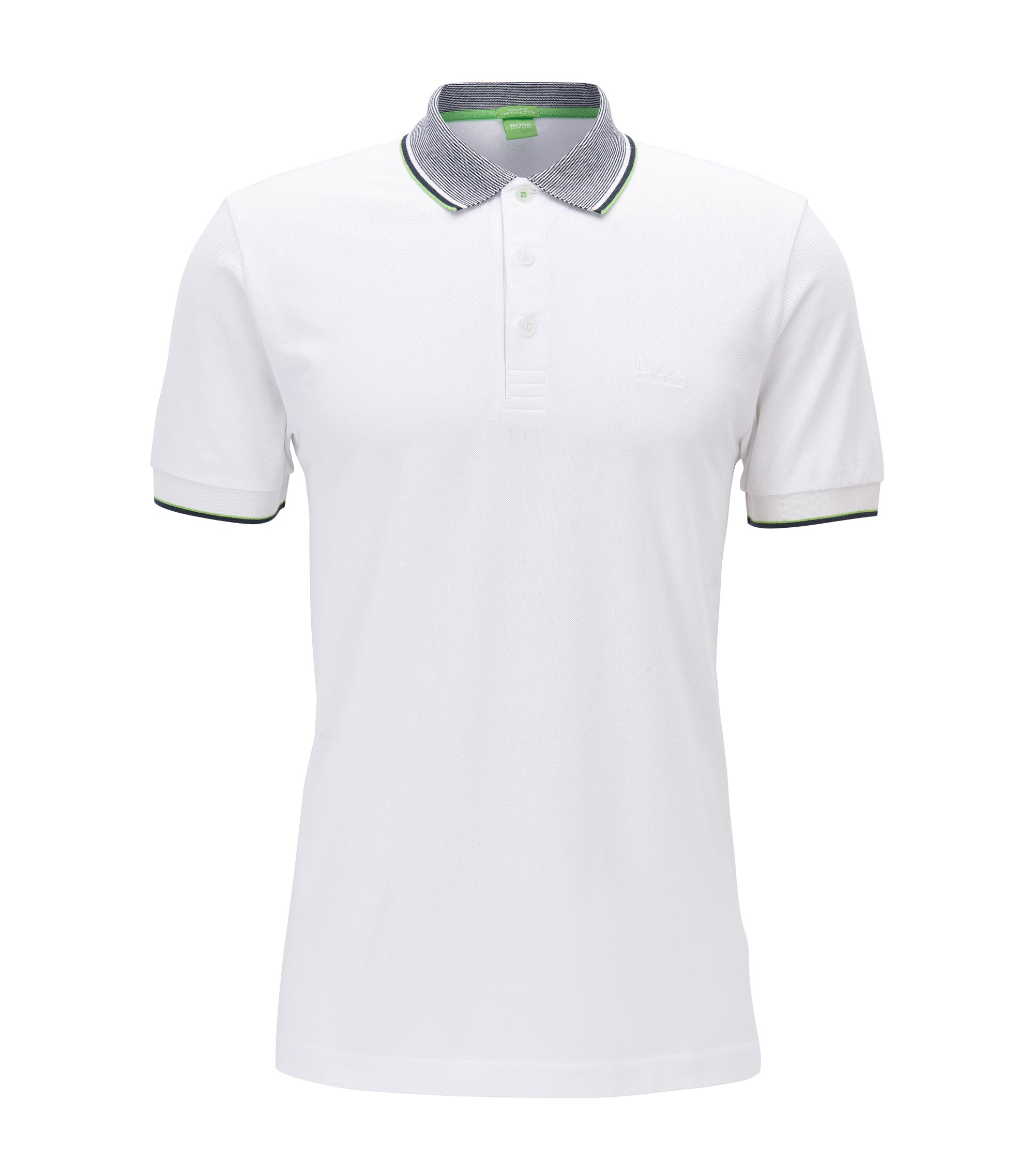 Polo regular fit en algodón de piqué, Blanco