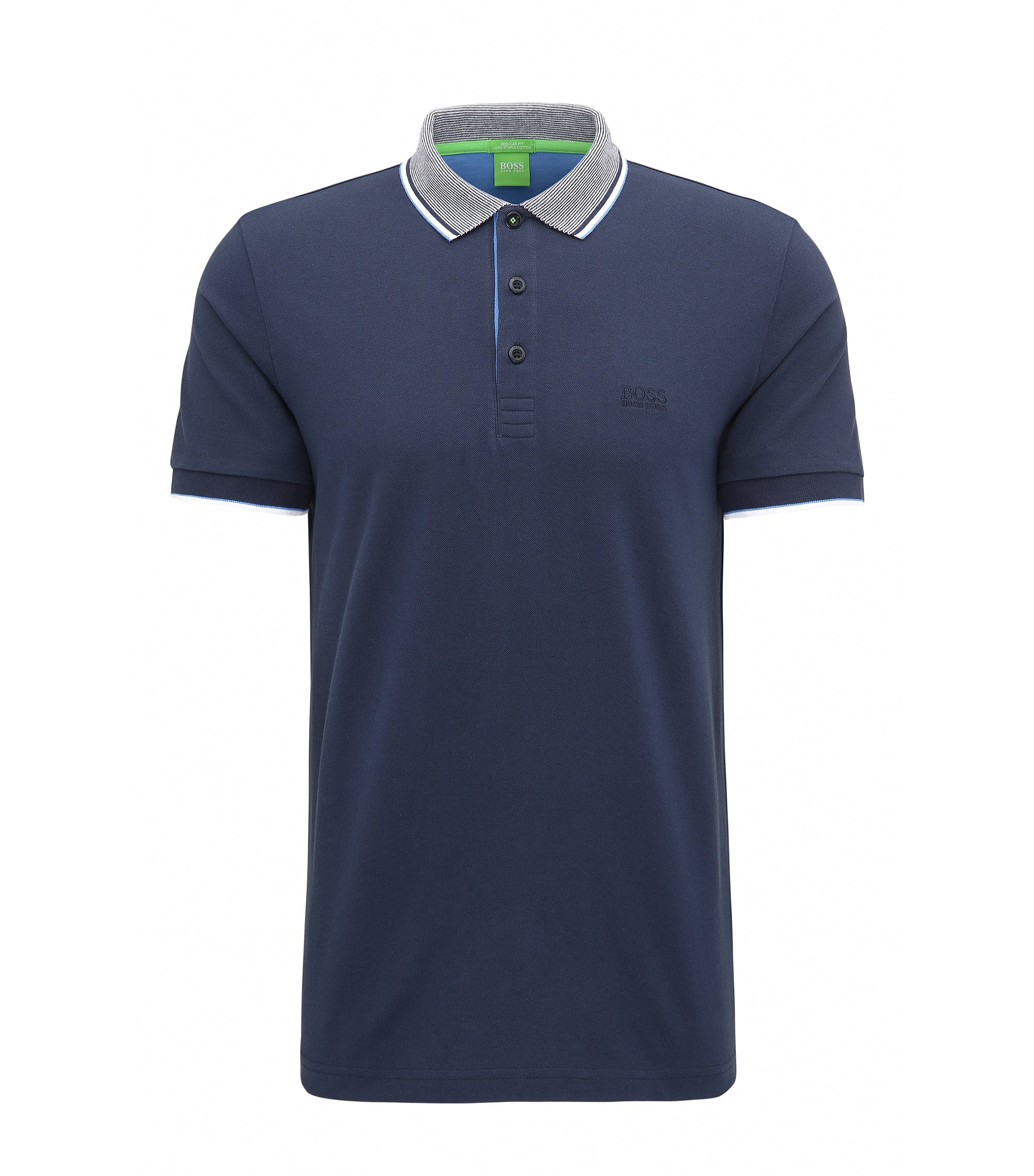 Regular-fit poloshirt in piquékatoen, Donkerblauw
