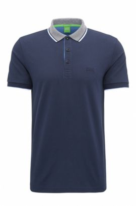 Regular-fit polo shirt in piqué cotton, Dark Blue