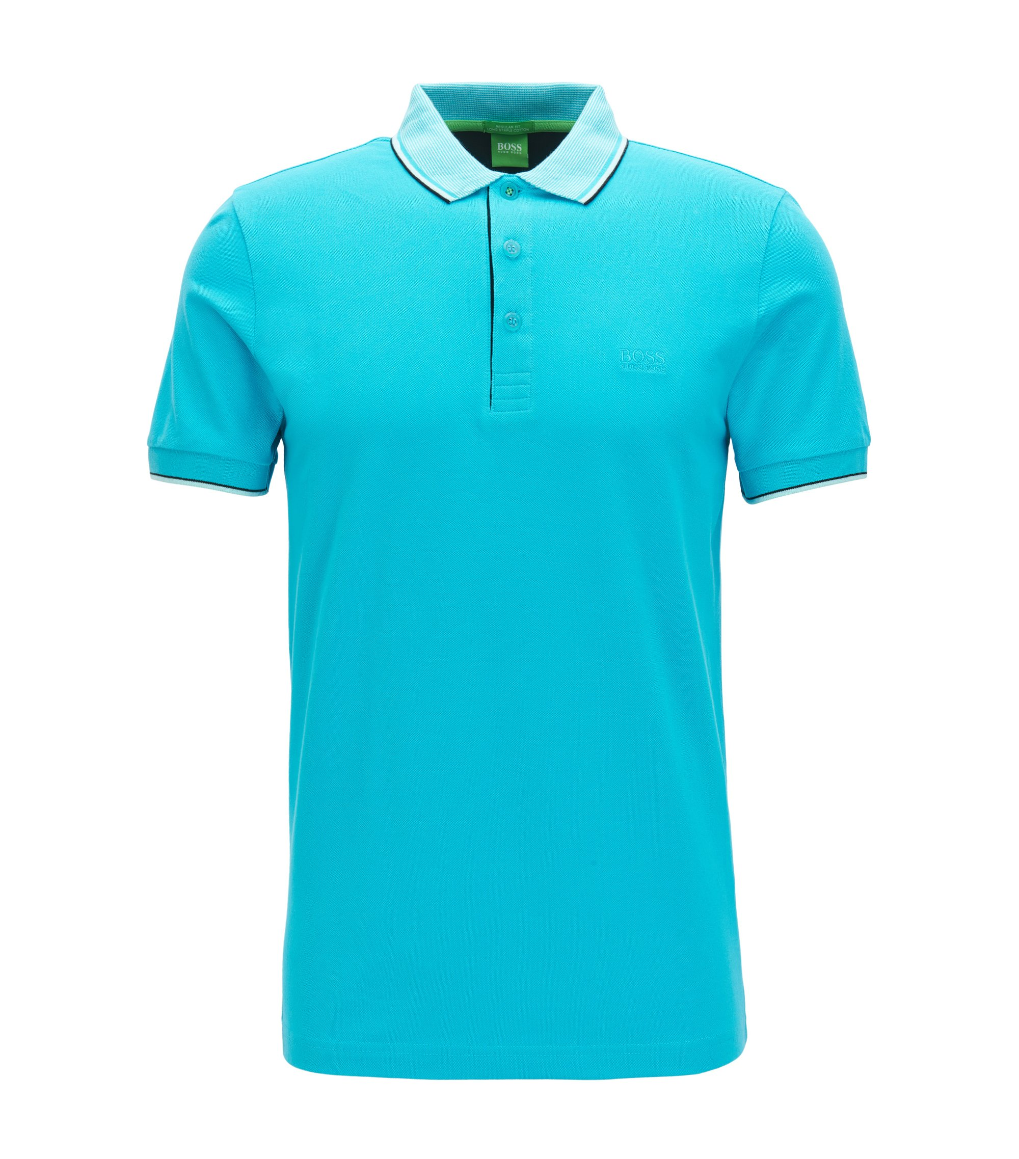 Polo regular fit en algodón de piqué, Azul
