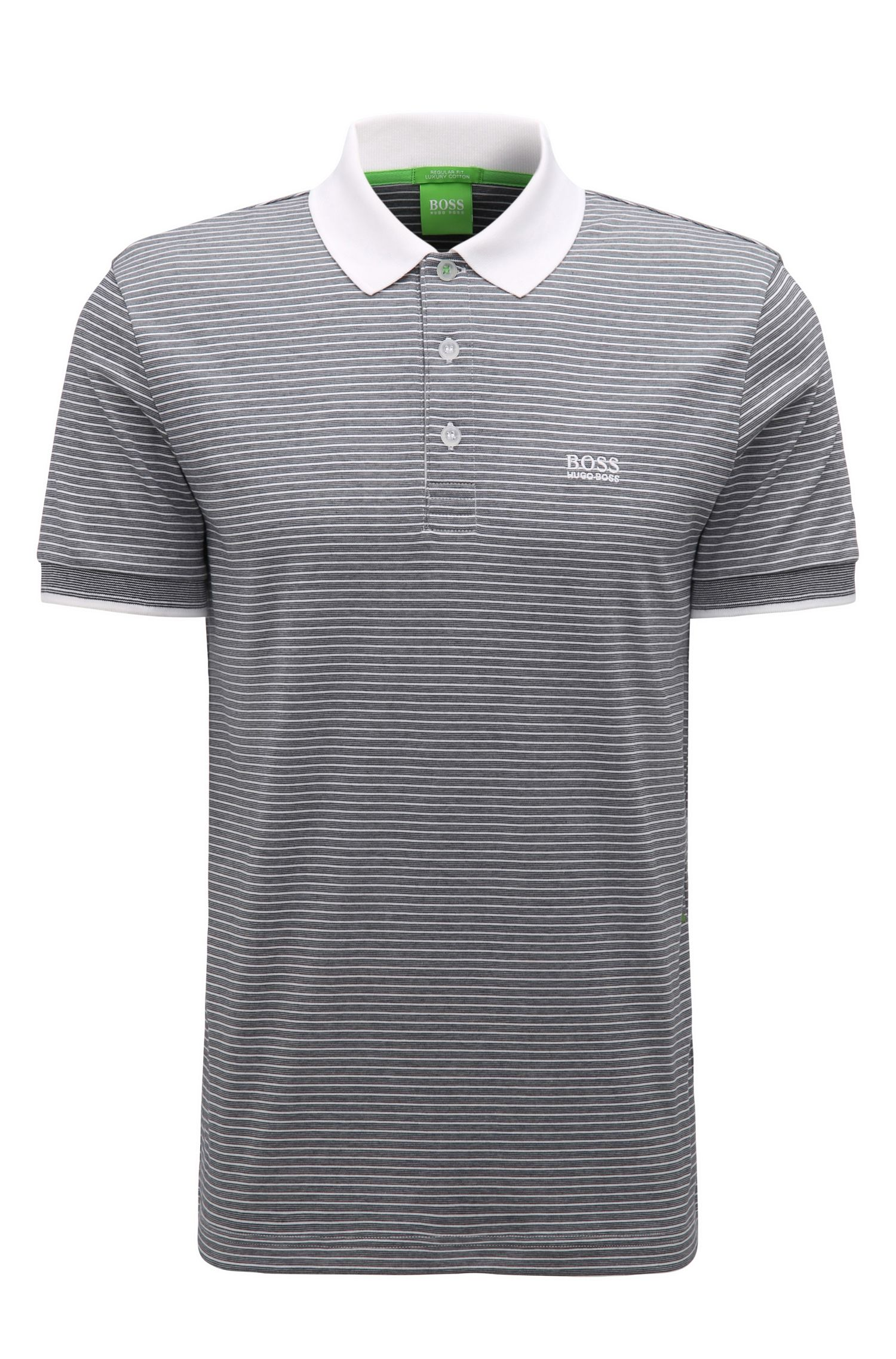 Regular-fit polo shirt in striped cotton