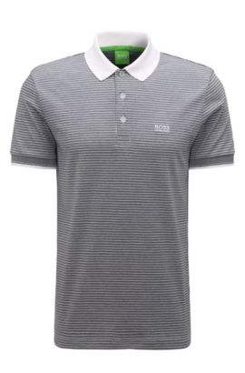 Regular-fit polo shirt in striped cotton, White