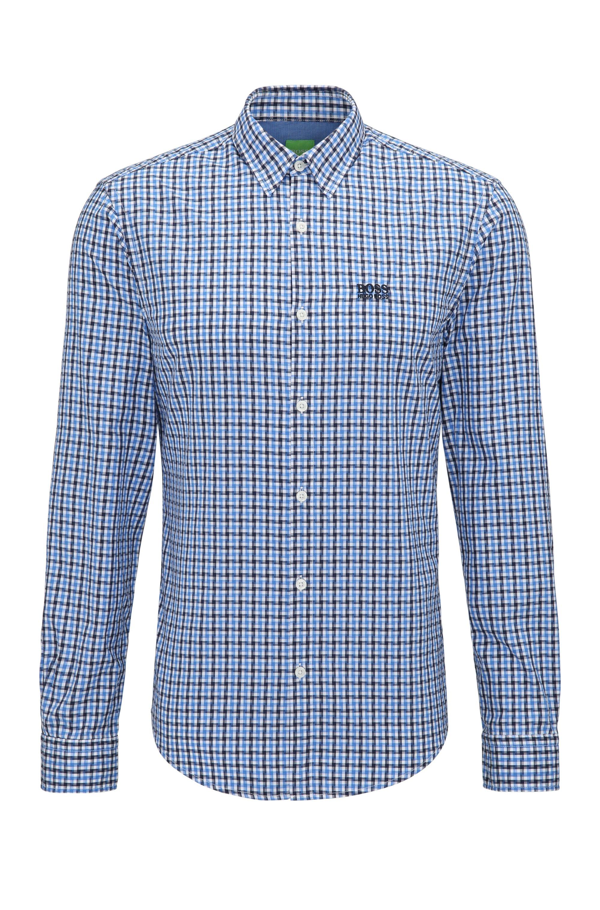 Chemise Regular Fit en coton, à motif vichy, Bleu